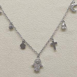 """Pulseira Prata 925 """"Amuletos de Proteção"""" [PZ152Y-54]"""