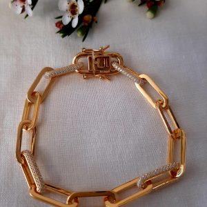 Pulseira Prata 925 Dourada com zircónias   [PL6832-D]